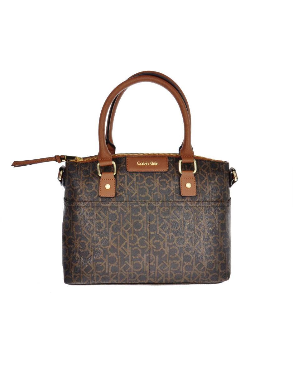 004a1148f4231 Bolsa satchel Calvin Klein cierre café logotipo
