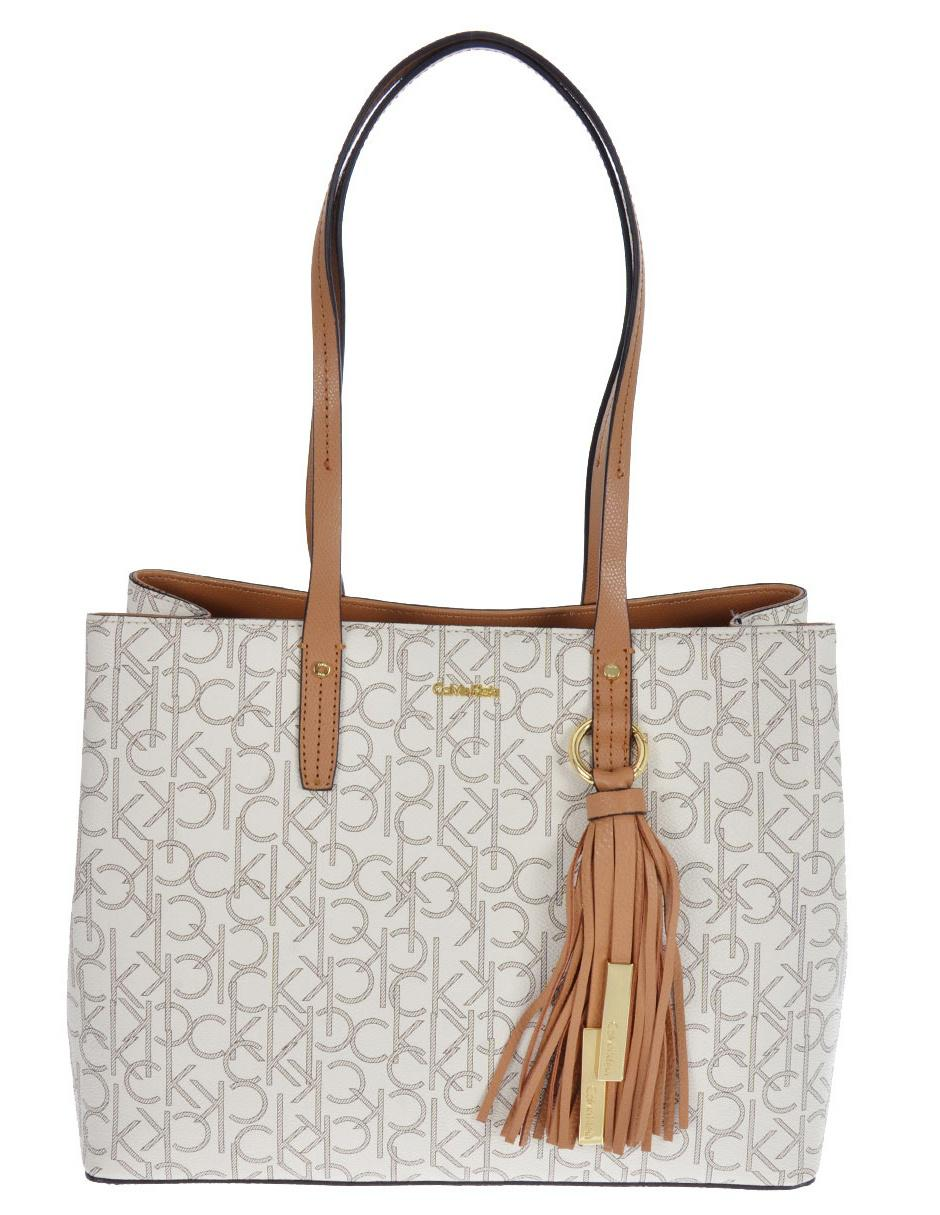 Bolsa shopper Calvin Klein broche blanca logotipo dad5c9994d