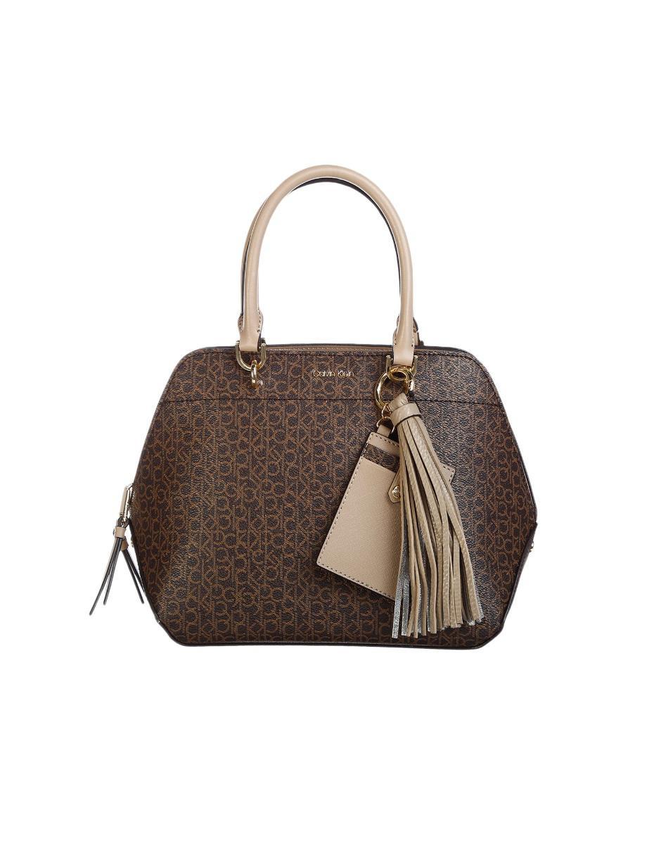 2367a38293f14 Bolsa satchel Calvin Klein cierre chocolate logotipo