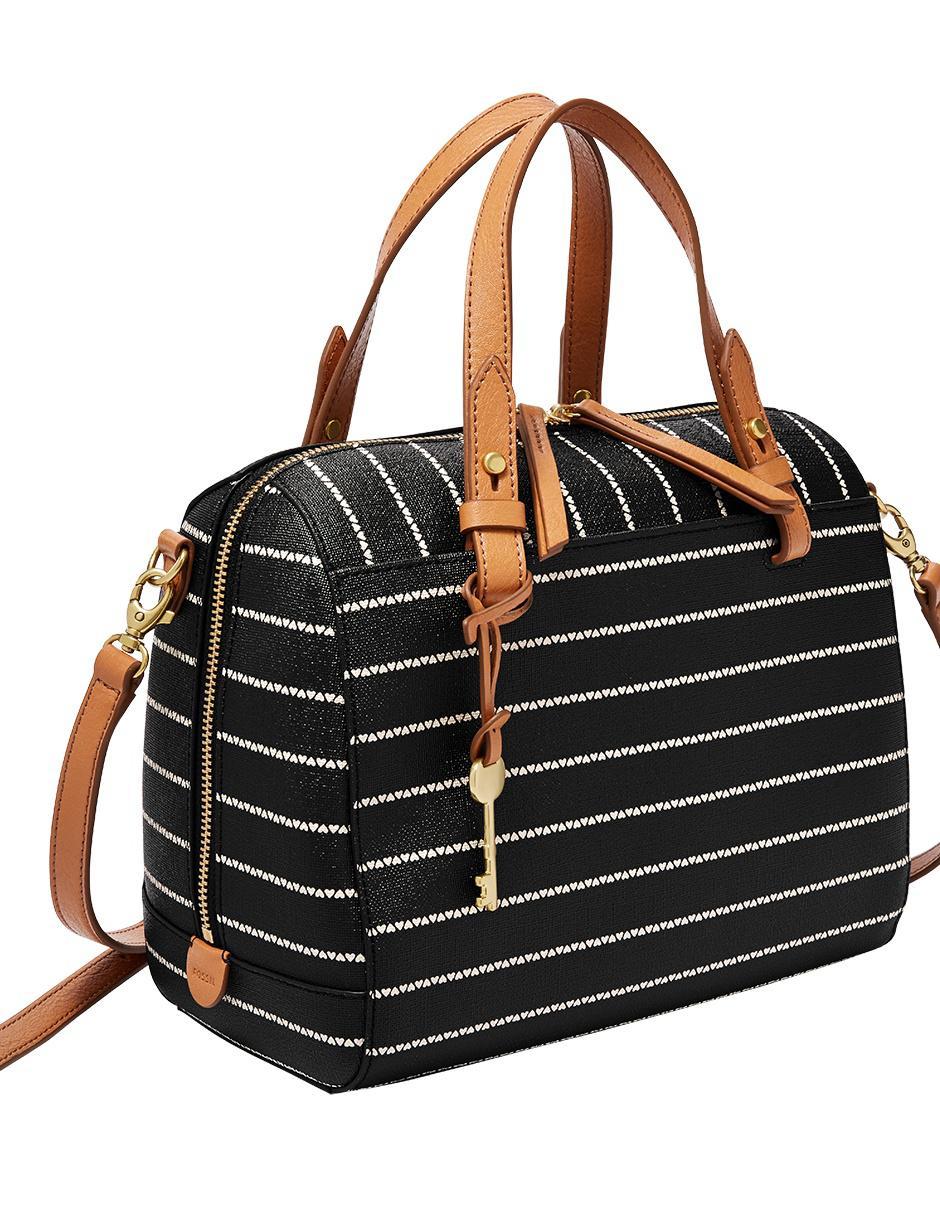 ebb6682f78f4 Bolsa satchel Fossil cierre negra con diseño gráfico